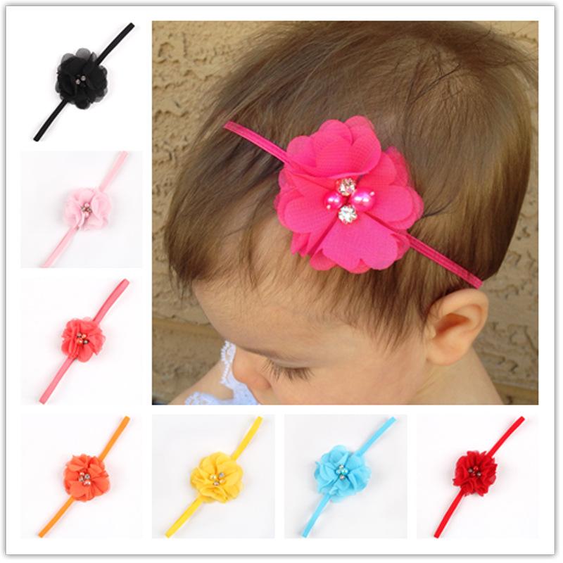 14Clr Fashion Hot children kids Baby girls pearl diamond chiffon mini flower Headband Headwear Hair Band Head Piece Accessories(China (Mainland))