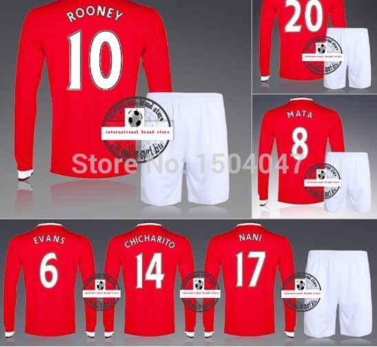 2015 Full Long Sleeve United Rooney Van Persie Di Maria Home Soccer Kit Set Of Jersey & Short Men Outfit Football Shirt Uniform(China (Mainland))