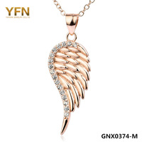 GNX0374 Valentine's Gift Genuine 925 Sterling Silver Necklace Fashion New S925 Jewelry CZ Wing Pendant Necklace For Women