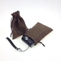 Qumei wholesale 50pcs 13x18cm  Faux jute/Hessian Mini Drawstring Bags wedding Gift burlap bags can customize logo