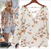 Free shipping Spring Women Chiffon Shirt Blusas Femininas Ladies Long Sleeve V Neck Birds Printed Loose Tops Roupas Plus Size