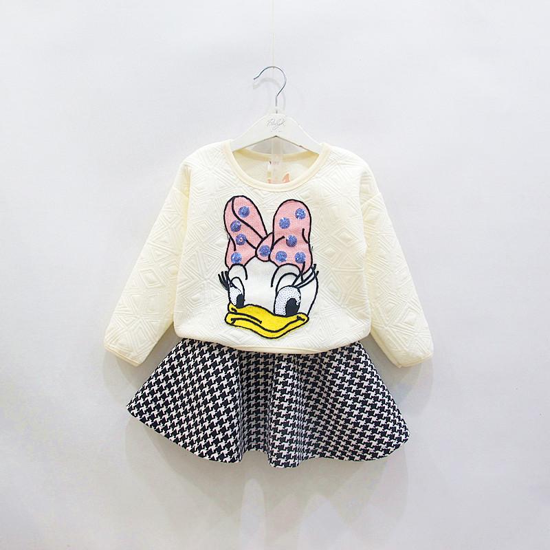 Winter Autumn Duck 2 pcs clothes Plaid Skirt set girls tops Tees check pettiskirt set 2 pcs clothing sets cartoon suits(China (Mainland))