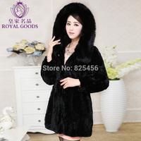 hot-selling 2014 new winter fur coat Fox collars hooded rabbit fur  coat Free shipping