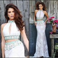 Charming White Long Lace Evening Dress Two Piece High Neck Jewel Prom Dress 2015 Bohemian Style Beaded Long Ball Dress TD035