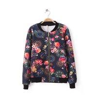 Brand quality fashion 2015 women short desigual long sleeve flower print casual jacket,slim all-match good quality jackets coat