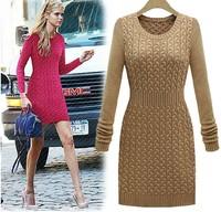 Fashion women's 12 autumn and winter medium-long slim waist women's sweater dress twisted knitted one-piece dress casual dress