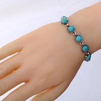 Wholesale Fashion Hot Sale Simple Women Vintage Tibetan Silver Jewelry Round Turquoise Bracelet Bangle Chain Gift