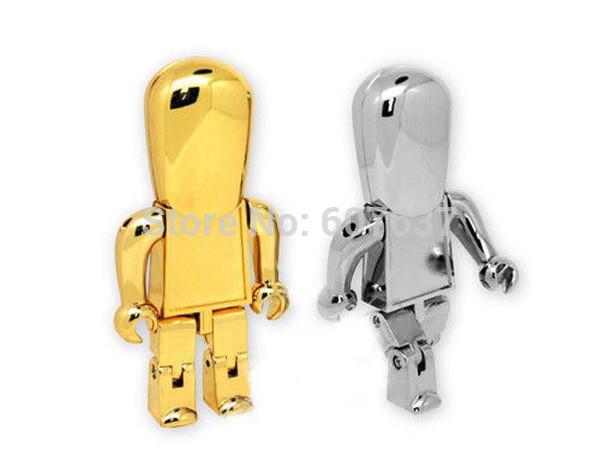 Real capacity 2GB 4GB 16GB 32GB Gold and Silver Robot USB Flash Drive memory Pen thumb stick Free Shipping(China (Mainland))
