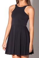 2015 new women dress blackmilk casual dress pleated halter vest pure black dresses