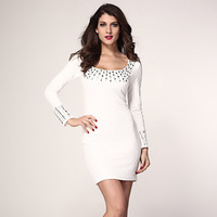 European and American winter new long-sleeved white diamond fold sexy ladies fashion dresses 2613, free shipping