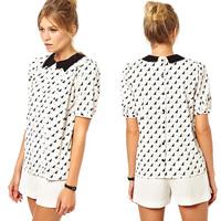 Women Shirt Fashion Cat Pattern Printed Reverse Side Single-Breasted Peter Pan Collar Short Sleeve Chiffon Tops Six Size D540