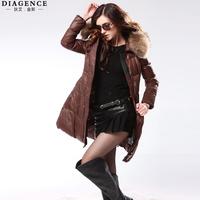Diagence2014 medium-long with a hood slim down coat outerwear fashion maomao collar outerwear women's