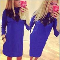 Vestidos 2015 Autumn/Winter Dress Elegant Long Sleeve Hollow Lace Peter Pan Collar Plus Size Slim Cotton Bodycon Formal Dress