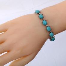 Wholesale Fashion Hot Sale Simple Vintage Design Women Turquoise Bracelet Tibetan Silver Bangle X-MAS Jewelry Gift(China (Mainland))