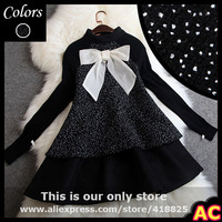 2015 winter spring designer womens shirts blouse black wool small white dot print collar bow fashion vintage cute brand blouse