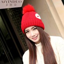 cute big lips plus thick velvet rabbit fur ball of knitting wool hat lady warm winter caps(China (Mainland))