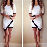 Fashion 2015 New Women Casual Dress Bandage bodycon Half Sleeve Ladies Asymmetric Patchwork Elegant Sexy Dresses Q282