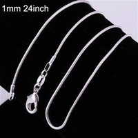 1MM 16'',18'',20'',22'',24''925 Sterling Silver Snake Chain Necklace,Fashion Silver Chain For Pendant Necklace women men jewelry