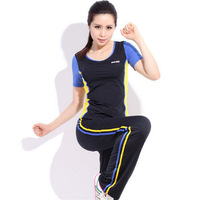 Outdoors gym women summer spring breathable tracksuits free shipping,elastic yoga sport suit woman jogging suits sportswear