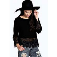 New Womens Ladies Long Sleeve Embroidery Lace T-Shirts Tops Autumn Casual Tops Tees White Black Solid Color Hollow Out Blouse