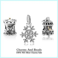 Authentic 925 sterling silver christmas charms sets winter fair jewelry sets fit famous brand charm bracelets diy design NS42