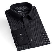 100% Cotton Shirt Slim Fit Stylish Polka Dot Shirt Long Sleeve Casual Shirts Men
