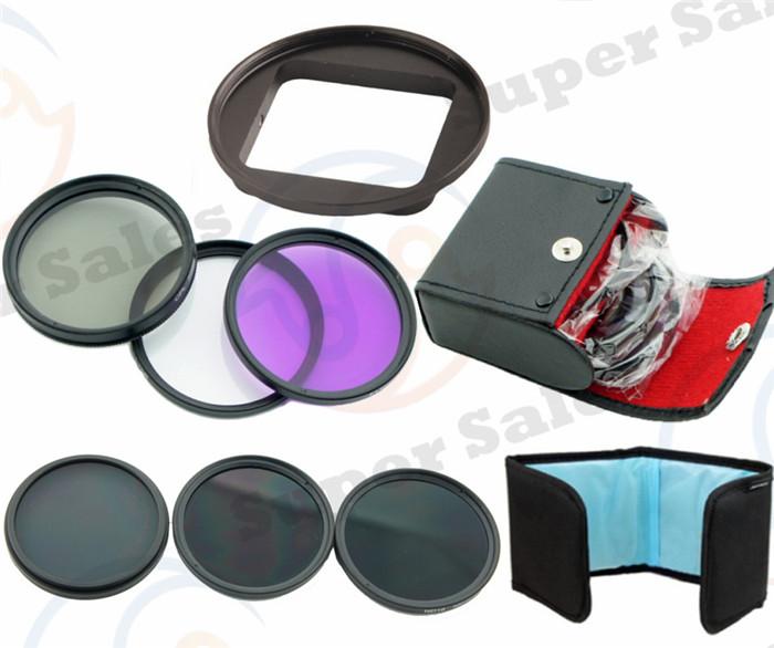 58mm Neutral Density ND Filter Set + FLD CPL UV Kit Lens Filter Adapter Ring for GoPro Hero 3 HD Camera free shipping(China (Mainland))