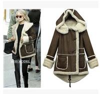 Free shipping 2014 fashion winter lambwool trench coat women's thicken overcoat plus size coat l1394