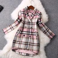 2014 High quality Fashion Plaid double-breasted wool coat winter coat women coat