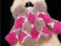 2015 winter thickness fashion women warm faux Fox fur coat  plaid color block decoration fox fur  long-sleeve overcoat l1433
