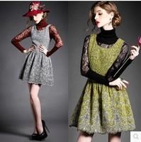Winter women's 2014 fashion embroidered scalloped woolen slim basic sleeveless one-piece dress