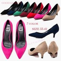 New 2015 Plus Size 33-42 10 Fashion Women Low Heel 5 cm High Heels Shoes Black Nude Pink Work Pumps Matti Shoes Wholesale Price