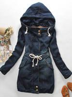 Free Shipping 2014 Winter Women Coat Denim Long Thick Sleeve Cotton Jeans Warm Overcoat Woman jacket female outerwear
