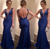 vestidos 2014 women blue long lace dress backless party dresses vestido de festa  lace v neck fashion dresses gowns