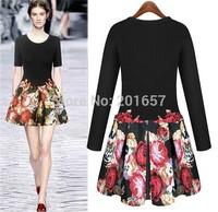 2015 new spring Desigual Women Dress Plus Size Fashion Fall Dresses Girls Vestido De Festa flower printed Dress XL Vestidos