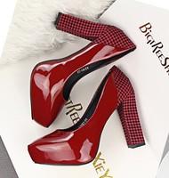 New 2015 women pumps fashion sexy Grid splicing high heels shoes woman pumps Free shipping 34-39