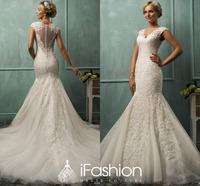 Designer Vintage Style Sexy See Through Back V Neck Lace Appliques Bride Dress Sweep Train Mermaid Wedding Dresses WB008