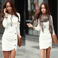 2014 Ladies Elegant Winter Long Sleeve Buttons Slim Hip Casual Autumn Dress Bodycon Dresses Women Work Wear OL Dress Vestidos 84