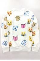 2015 New Fashion Autumn Winter Fashion Black 3D Emoji Print Sweatshirt  LC25343 Winter Pullover Suits Sportwear for Women/Men