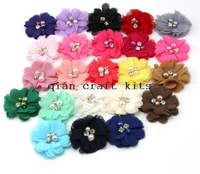 """70pcs 2"""" Petite Chiffon Flowers with Pearls and Rhinestones Chiffon Flowers Hair Flowers Two Pearl Two Rhinestone Chiffon Flower"""