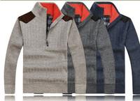 2015 New Thick Warm Winter Coat Men's Zipper Pullover Cashmere wool Sweaters Man Casual Knitwear Fleece Velvet Clothing Big Size