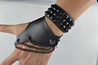 free shipping (min order 10USD) new design fashion cool punk leather bracelet / gloves sets