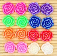 50pcs/lot shine flower flatback resin cabochons for phone hair clothes accessaries