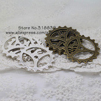 (12 pieces/lot) 40mm Two Color Plated Antique Style Metal Alloy Big Gear Charms Jewelry Pendant 7893