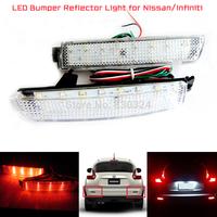 2 x LED Rear Bumper Reflector Clear Lens Tail Brake Fog Light for Nissan Murano Inifiniti FX35 FX50