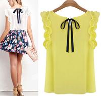Plus Size Blouses 2014 New Summer Women Blouse O-Neck Lotus Leaf Casual Shirt Women Clothing Lacing Bow Chiffon Blouse B-2045