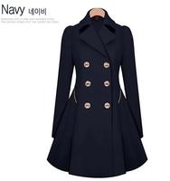 2015 autumn winter new fashion women clothing outwear Plus size slim fiare zipper coat Double breasted trench coats,Desigual HOT