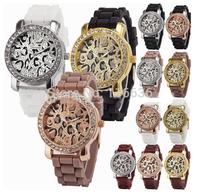 10pcs Lot  Women Geneva Leopard Watch woman wristwatch rhinestone watch NEW Gold color Analog Quartz Watch Silicone wholesale