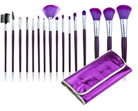 Free Shipping Makeup Tool Kit 16pcs/pack Nylon Brush + Wood Handle with Purple Portable Package for Makeup Master