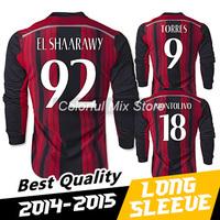 Free Shipping 2015 AC Milan Long Sleeve Jersey EL SHAARAWY TORRES 14 15 AC Milan Soccer Long Sleeve Football Shirts